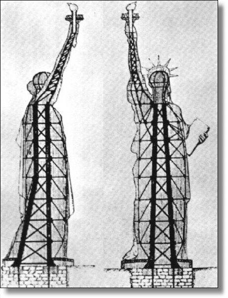 Stählerne innenleben der freiheitsstatue stammt aus der firma eiffels